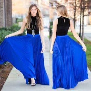 Zara royal blue side slit maxi skirt